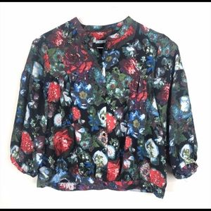 Kimchi Blue Floral Long Sleeve Blouse Button Front